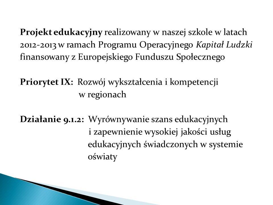 Projekt edukacyjny realizowany w naszej szkole w latach 2012-2013 w ramach Programu Operacyjnego Kapitał Ludzki finansowany z Europejskiego Funduszu S