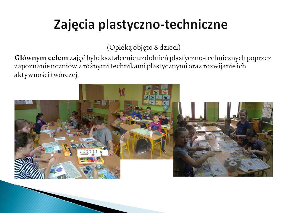 (Opieką objęto 8 dzieci) Głównym celem zajęć było kształcenie uzdolnień plastyczno-technicznych poprzez zapoznanie uczniów z różnymi technikami plasty