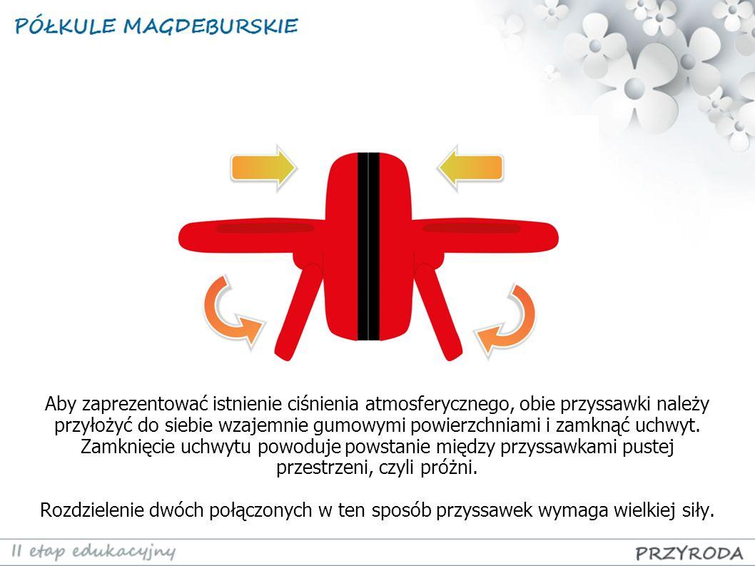 Aby zaprezentować istnienie ciśnienia atmosferycznego, obie przyssawki należy przyłożyć do siebie wzajemnie gumowymi powierzchniami i zamknąć uchwyt.