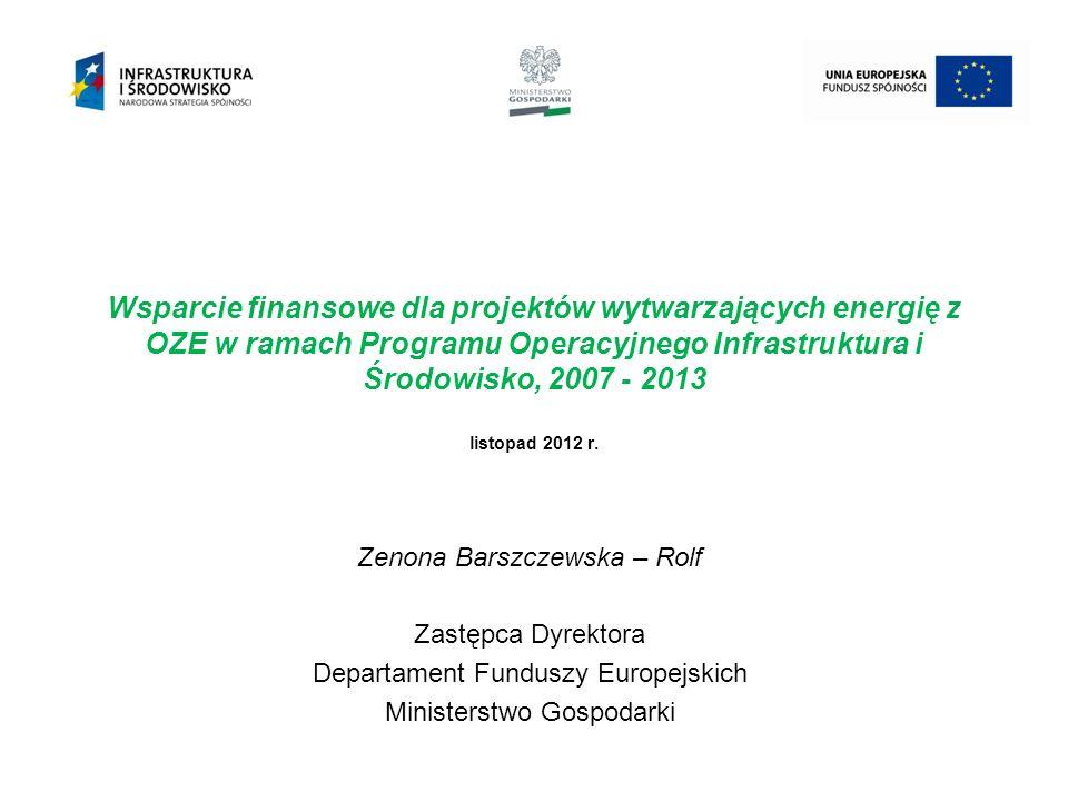 Rola Ministerstwa Gospodarki w dystrybucji funduszy UE 2 Instytucja Pośrednicząca Narodowy Fundusz Ochrony Środowiska i Gospodarki Wodnej Instytut Nafty i Gazu Instytucje Wdrażające Beneficjenci - podmioty realizujące inwestycje w zakresie budowy / modernizacji : jednostek wytwarzania: energii elektrycznej wykorzystujących biomasę, biogaz, energię wiatru oraz wody (np.