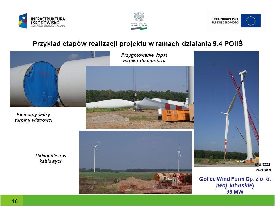 Przykład etapów realizacji projektu w ramach działania 9.4 POIiŚ 16 Elementy wieży turbiny wiatrowej Układanie tras kablowych Przygotowanie łopat wirn