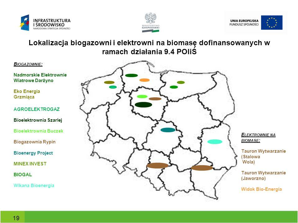 Lokalizacja biogazowni i elektrowni na biomasę dofinansowanych w ramach działania 9.4 POIiŚ 19 B IOGAZOWNIE : Nadmorskie Elektrownie Wiatrowe Darżyno
