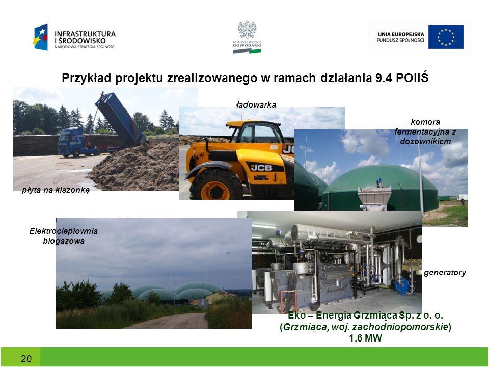 Przykład projektu zrealizowanego w ramach działania 9.4 POIiŚ 20 Eko – Energia Grzmiąca Sp. z o. o. (Grzmiąca, woj. zachodniopomorskie) 1,6 MW płyta n