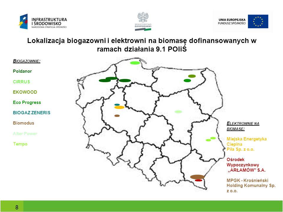 Lokalizacja biogazowni i elektrowni na biomasę dofinansowanych w ramach działania 9.1 POIiŚ 8 B IOGAZOWNIE : Poldanor CIRRUS EKOWOOD Eco Progress BIOG