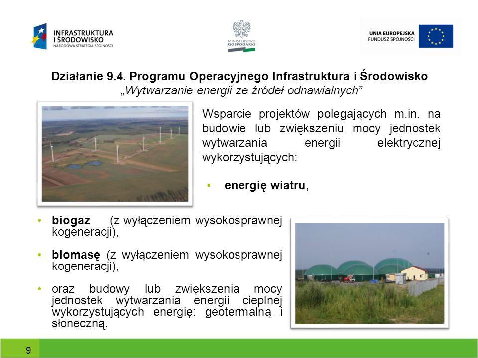 Działanie 9.4. Programu Operacyjnego Infrastruktura i Środowisko Wytwarzanie energii ze źródeł odnawialnych 9 Wsparcie projektów polegających m.in. na