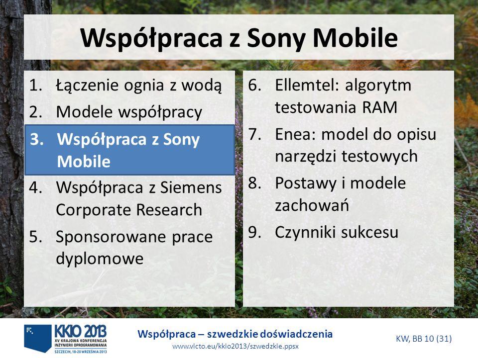 Współpraca – szwedzkie doświadczenia www.victo.eu/kkio2013/szwedzkie.ppsx KW, BB 10 (31) Współpraca z Sony Mobile 6.Ellemtel: algorytm testowania RAM 7.Enea: model do opisu narzędzi testowych 8.Postawy i modele zachowań 9.Czynniki sukcesu 1.Łączenie ognia z wodą 2.Modele współpracy 3.Współpraca z Sony Mobile 4.Współpraca z Siemens Corporate Research 5.Sponsorowane prace dyplomowe 3.Współpraca z Sony Mobile