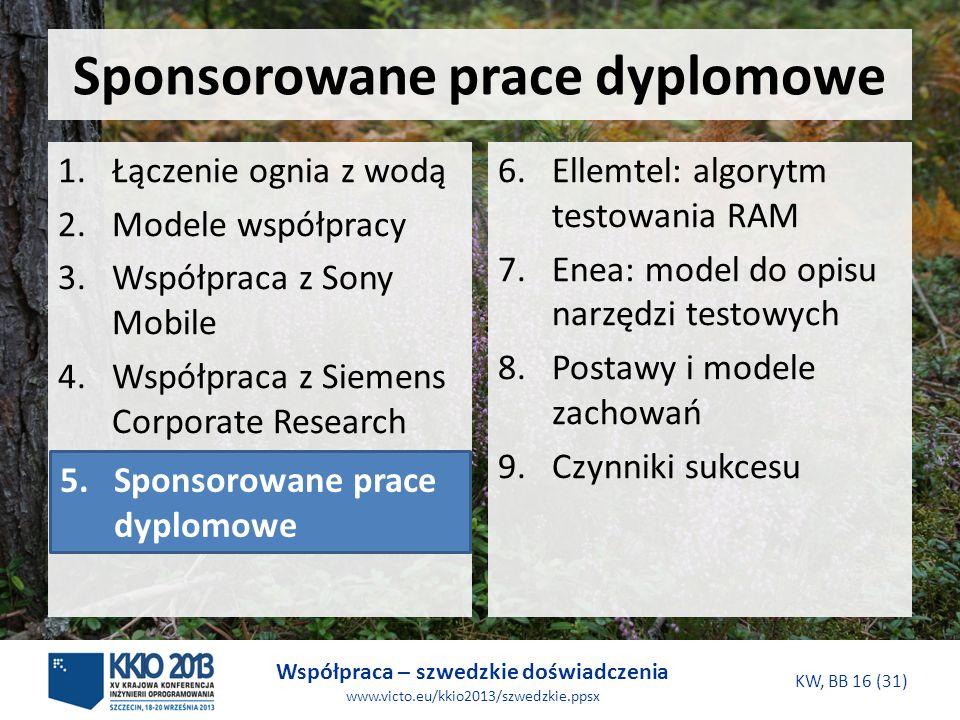 Współpraca – szwedzkie doświadczenia www.victo.eu/kkio2013/szwedzkie.ppsx KW, BB 16 (31) Sponsorowane prace dyplomowe 6.Ellemtel: algorytm testowania RAM 7.Enea: model do opisu narzędzi testowych 8.Postawy i modele zachowań 9.Czynniki sukcesu 1.Łączenie ognia z wodą 2.Modele współpracy 3.Współpraca z Sony Mobile 4.Współpraca z Siemens Corporate Research 5.Sponsorowane prace dyplomowe