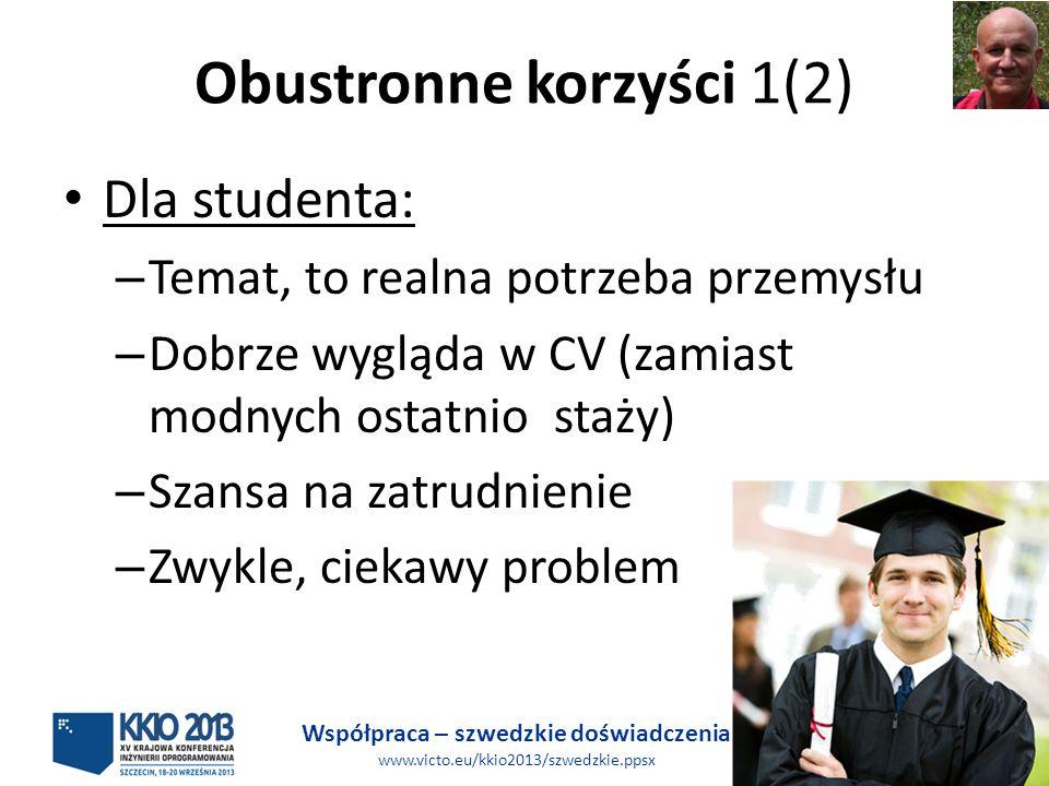 Współpraca – szwedzkie doświadczenia www.victo.eu/kkio2013/szwedzkie.ppsx KW, BB 17 (31) Obustronne korzyści 1(2) Dla studenta: – Temat, to realna potrzeba przemysłu – Dobrze wygląda w CV (zamiast modnych ostatnio staży) – Szansa na zatrudnienie – Zwykle, ciekawy problem