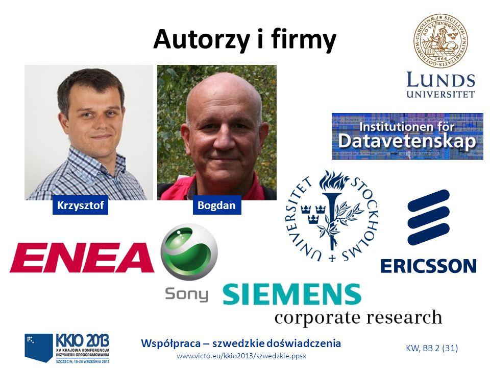 Współpraca – szwedzkie doświadczenia www.victo.eu/kkio2013/szwedzkie.ppsx KW, BB 2 (31) Autorzy i firmy KrzysztofBogdan