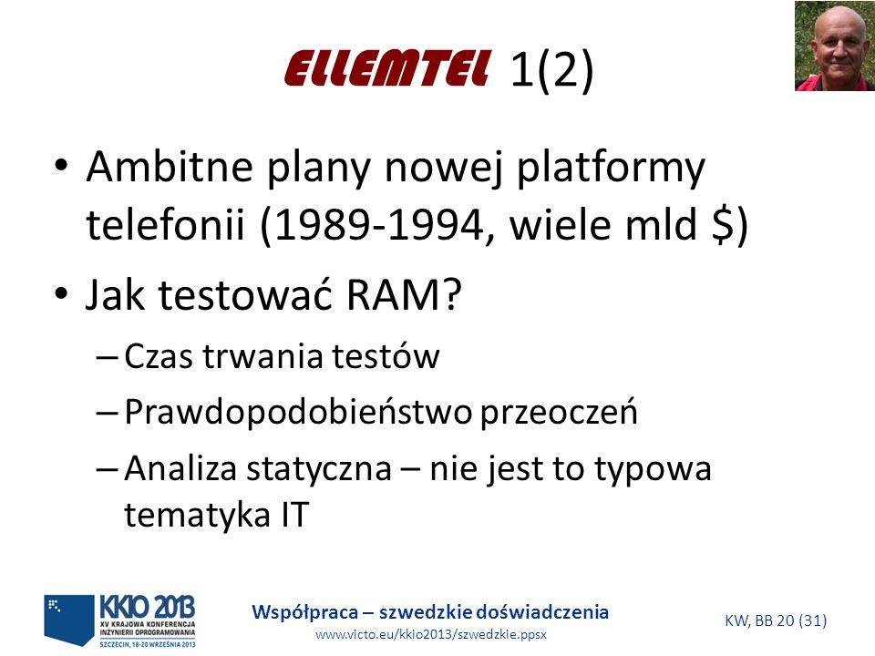 Współpraca – szwedzkie doświadczenia www.victo.eu/kkio2013/szwedzkie.ppsx KW, BB 20 (31) ELLEMTEL 1(2) Ambitne plany nowej platformy telefonii (1989-1994, wiele mld $) Jak testować RAM.