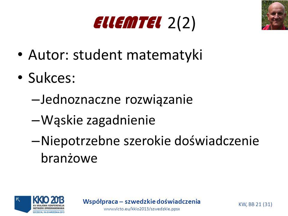 Współpraca – szwedzkie doświadczenia www.victo.eu/kkio2013/szwedzkie.ppsx KW, BB 21 (31) ELLEMTEL 2(2) Autor: student matematyki Sukces: – Jednoznaczne rozwiązanie – Wąskie zagadnienie – Niepotrzebne szerokie doświadczenie branżowe