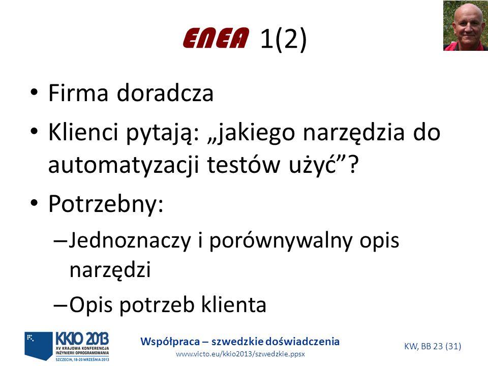 Współpraca – szwedzkie doświadczenia www.victo.eu/kkio2013/szwedzkie.ppsx KW, BB 23 (31) ENEA 1(2) Firma doradcza Klienci pytają: jakiego narzędzia do