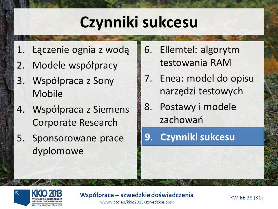 Współpraca – szwedzkie doświadczenia www.victo.eu/kkio2013/szwedzkie.ppsx KW, BB 28 (31) Czynniki sukcesu 6.Ellemtel: algorytm testowania RAM 7.Enea: model do opisu narzędzi testowych 8.Postawy i modele zachowań 9.Czynniki sukcesu 1.Łączenie ognia z wodą 2.Modele współpracy 3.Współpraca z Sony Mobile 4.Współpraca z Siemens Corporate Research 5.Sponsorowane prace dyplomowe 9.Czynniki sukcesu