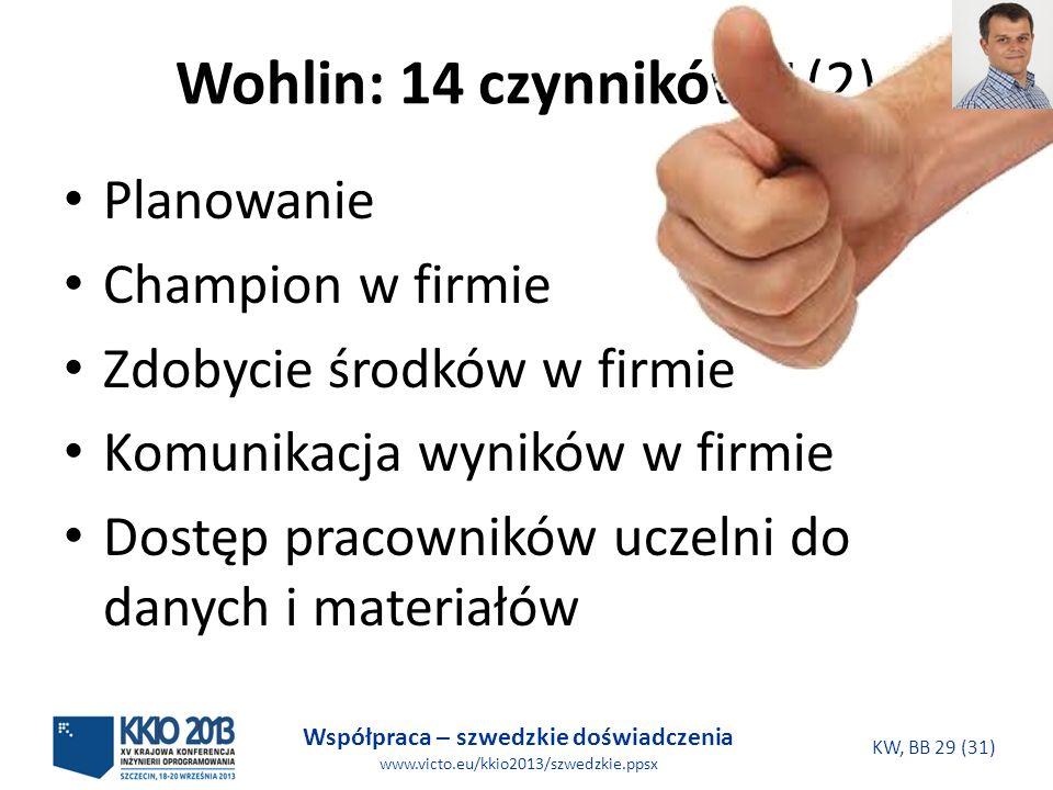 Współpraca – szwedzkie doświadczenia www.victo.eu/kkio2013/szwedzkie.ppsx KW, BB 29 (31) Wohlin: 14 czynników 1(2) Planowanie Champion w firmie Zdobyc