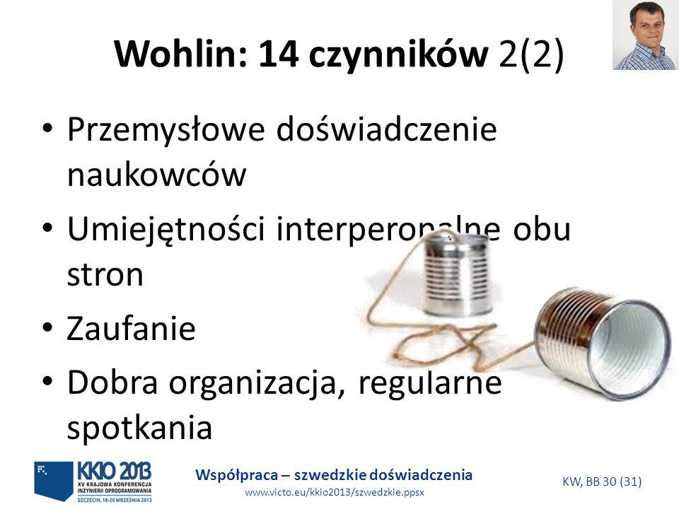 Współpraca – szwedzkie doświadczenia www.victo.eu/kkio2013/szwedzkie.ppsx KW, BB 30 (31) Wohlin: 14 czynników 2(2) Przemysłowe doświadczenie naukowców Umiejętności interperonalne obu stron Zaufanie Dobra organizacja, regularne spotkania