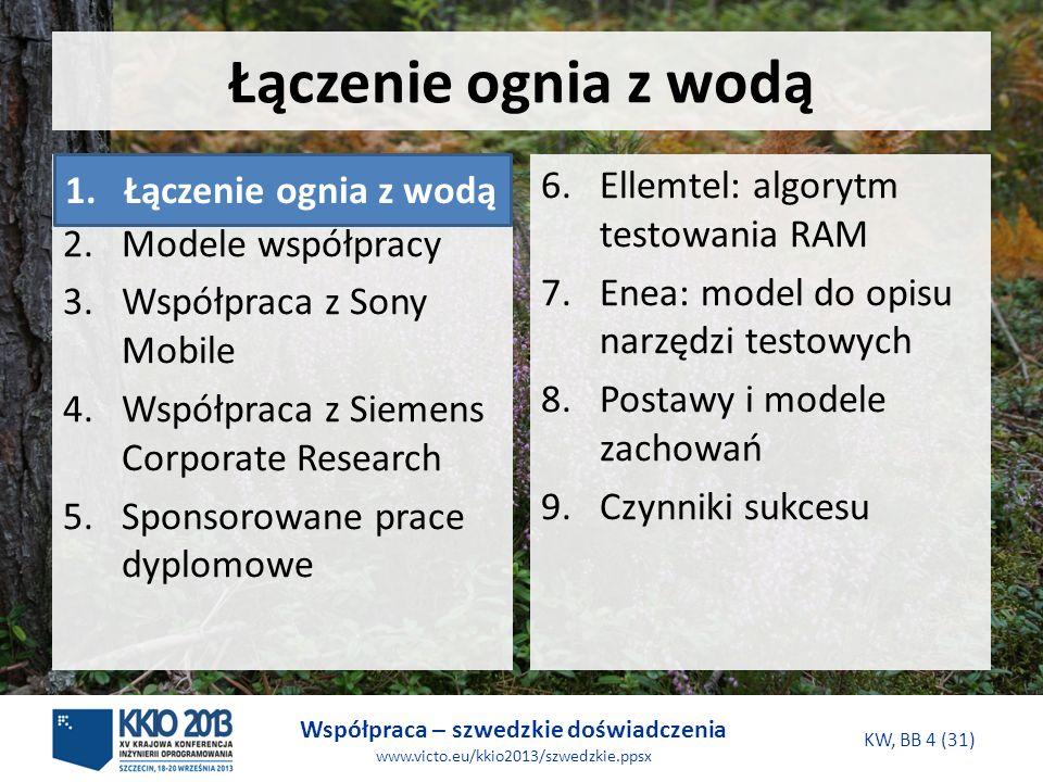 Współpraca – szwedzkie doświadczenia www.victo.eu/kkio2013/szwedzkie.ppsx KW, BB 4 (31) Łączenie ognia z wodą 6.Ellemtel: algorytm testowania RAM 7.Enea: model do opisu narzędzi testowych 8.Postawy i modele zachowań 9.Czynniki sukcesu 1.Łączenie ognia z wodą 2.Modele współpracy 3.Współpraca z Sony Mobile 4.Współpraca z Siemens Corporate Research 5.Sponsorowane prace dyplomowe 1.Łączenie ognia z wodą