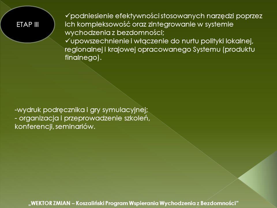 WEKTOR ZMIAN – Koszaliński Program Wspierania Wychodzenia z Bezdomności ETAP III podniesienie efektywności stosowanych narzędzi poprzez ich kompleksowość oraz zintegrowanie w systemie wychodzenia z bezdomności; upowszechnienie i włączenie do nurtu polityki lokalnej, regionalnej i krajowej opracowanego Systemu (produktu finalnego).
