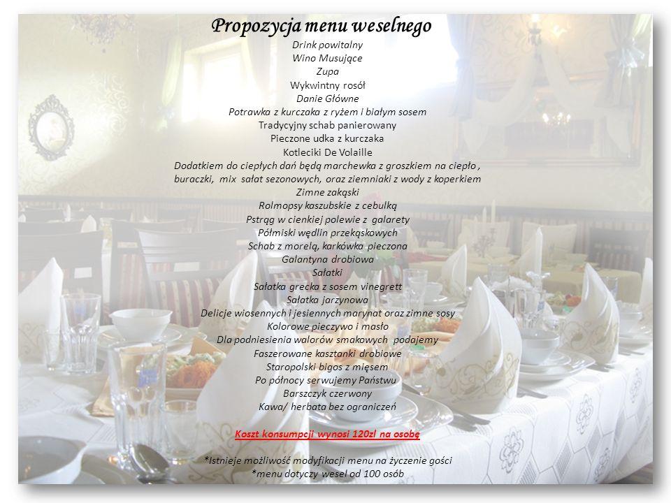 Propozycja menu weselnego Drink powitalny Wino Musujące Zupa Wykwintny rosół Danie Główne Potrawka z kurczaka z ryżem i białym sosem Tradycyjny schab