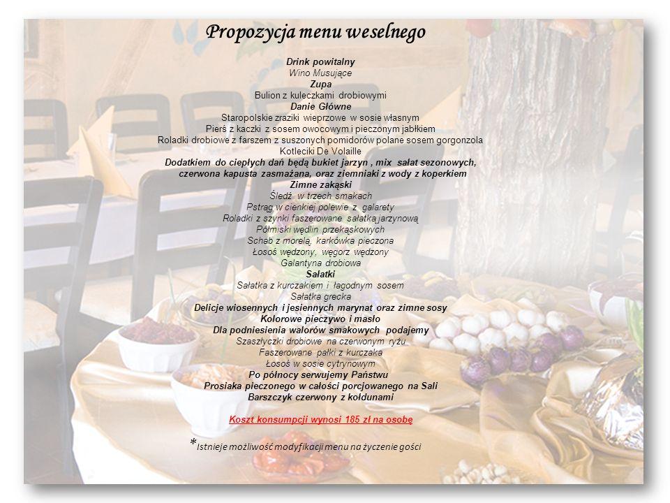 Propozycja menu weselnego Drink powitalny Wino Musujące Zupa Bulion z kuleczkami drobiowymi Danie Główne Staropolskie zraziki wieprzowe w sosie własny