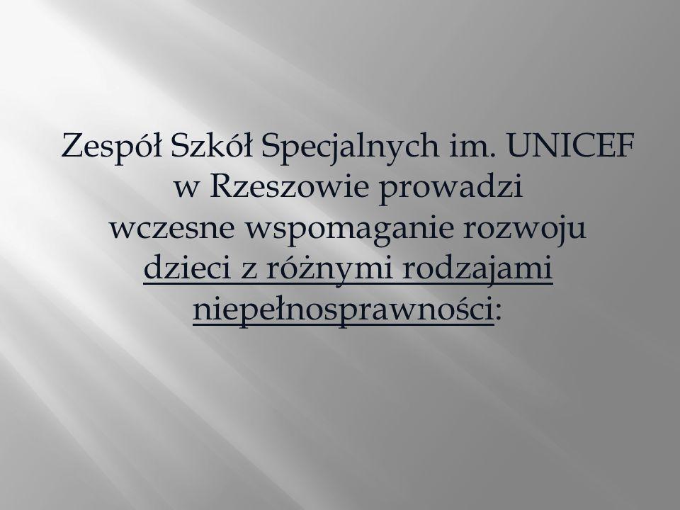 Zespół Szkół Specjalnych im. UNICEF w Rzeszowie prowadzi wczesne wspomaganie rozwoju dzieci z różnymi rodzajami niepełnosprawności: