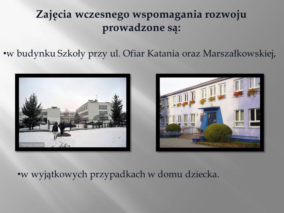 Zajęcia wczesnego wspomagania rozwoju prowadzone są: w budynku Szkoły przy ul. Ofiar Katania oraz Marszałkowskiej, w wyjątkowych przypadkach w domu dz