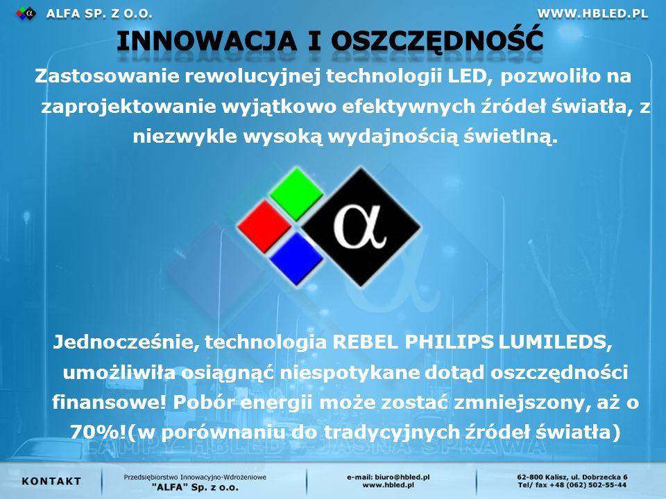 Zastosowanie rewolucyjnej technologii LED, pozwoliło na zaprojektowanie wyjątkowo efektywnych źródeł światła, z niezwykle wysoką wydajnością świetlną.