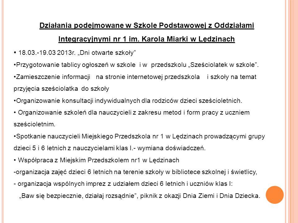 Działania podejmowane w Szkole Podstawowej z Oddziałami Integracyjnymi nr 1 im.