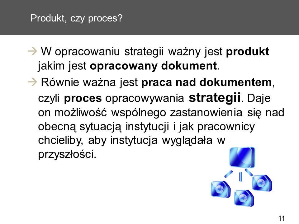 11 Produkt, czy proces? W opracowaniu strategii ważny jest produkt jakim jest opracowany dokument. Równie ważna jest praca nad dokumentem, czyli proce