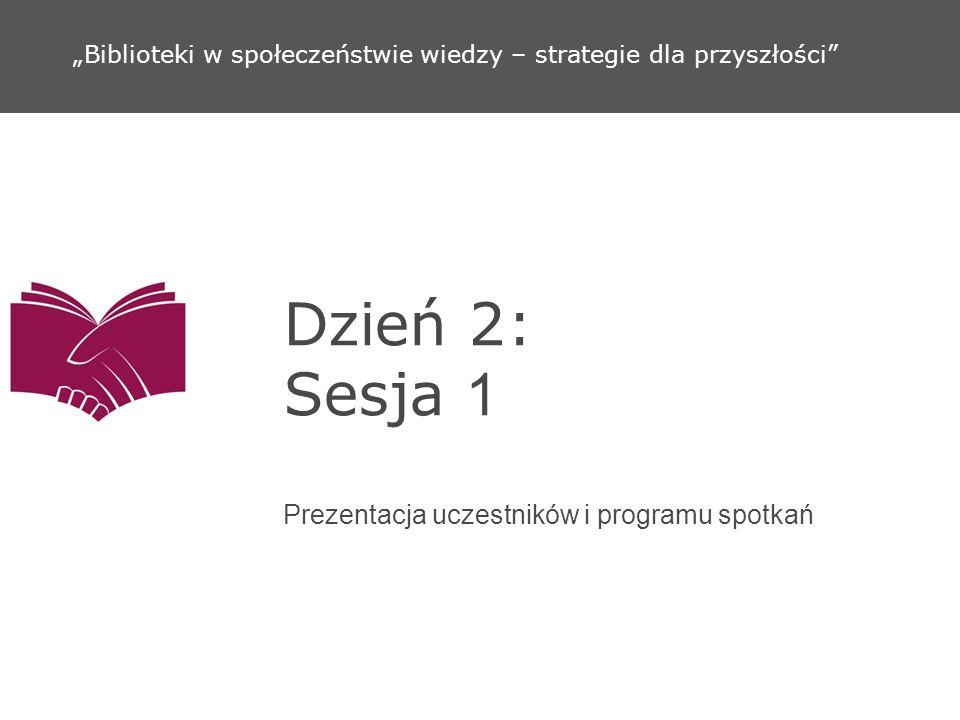 Dzień 2: Sesja 2 Wizja mojej biblioteki Biblioteki w społeczeństwie wiedzy – strategie dla przyszłości
