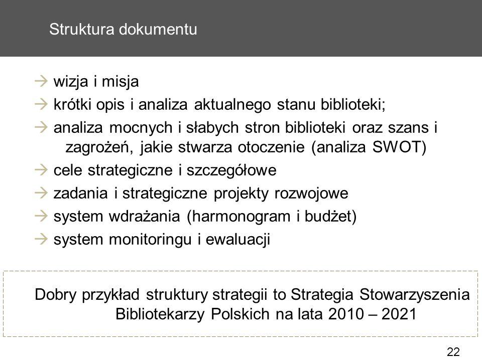 22 Struktura dokumentu wizja i misja krótki opis i analiza aktualnego stanu biblioteki; analiza mocnych i słabych stron biblioteki oraz szans i zagroż