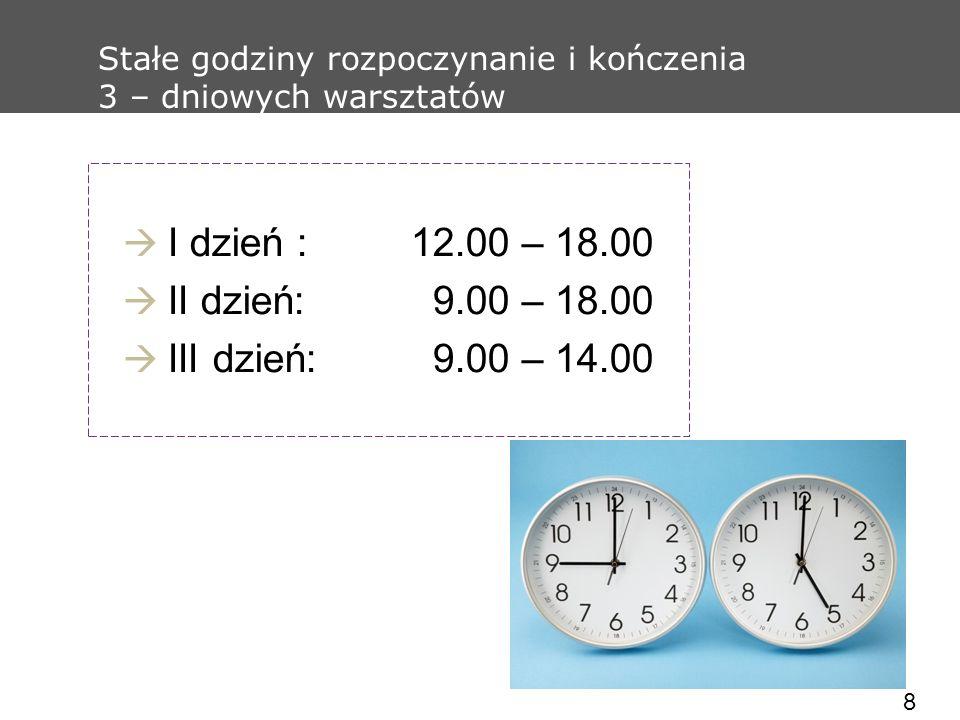8 Stałe godziny rozpoczynanie i kończenia 3 – dniowych warsztatów I dzień :12.00 – 18.00 II dzień: 9.00 – 18.00 III dzień: 9.00 – 14.00