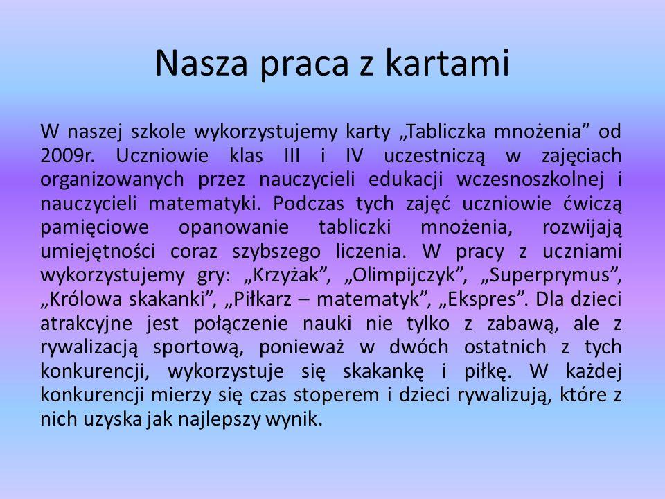 Szkolne Mistrzostwa Klas IV w Tabliczce Mnożenia Od 2009r.