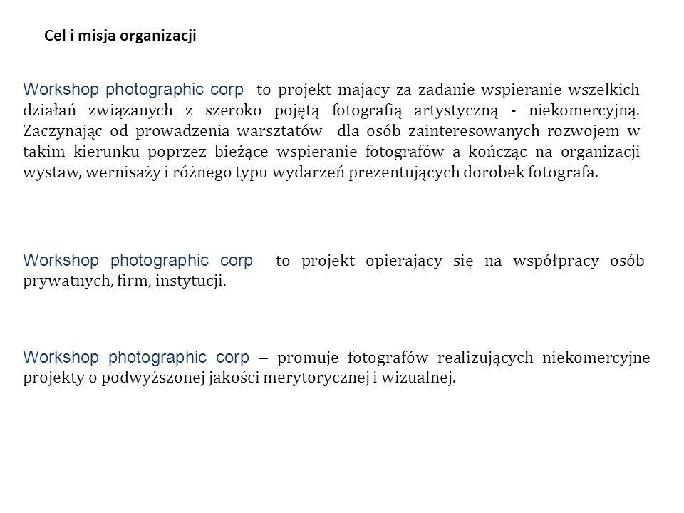 Workshop photographic corp to projekt mający za zadanie wspieranie wszelkich działań związanych z szeroko pojętą fotografią artystyczną - niekomercyjną.