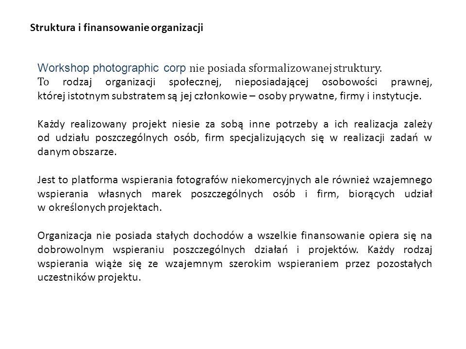 Struktura i finansowanie organizacji Workshop photographic corp nie posiada sformalizowanej struktury.