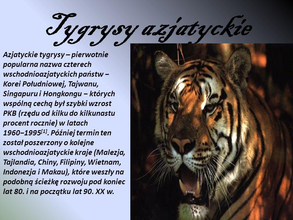 Tygrysy azjatyckie Azjatyckie tygrysy – pierwotnie popularna nazwa czterech wschodnioazjatyckich państw Korei Południowej, Tajwanu, Singapuru i Hongko