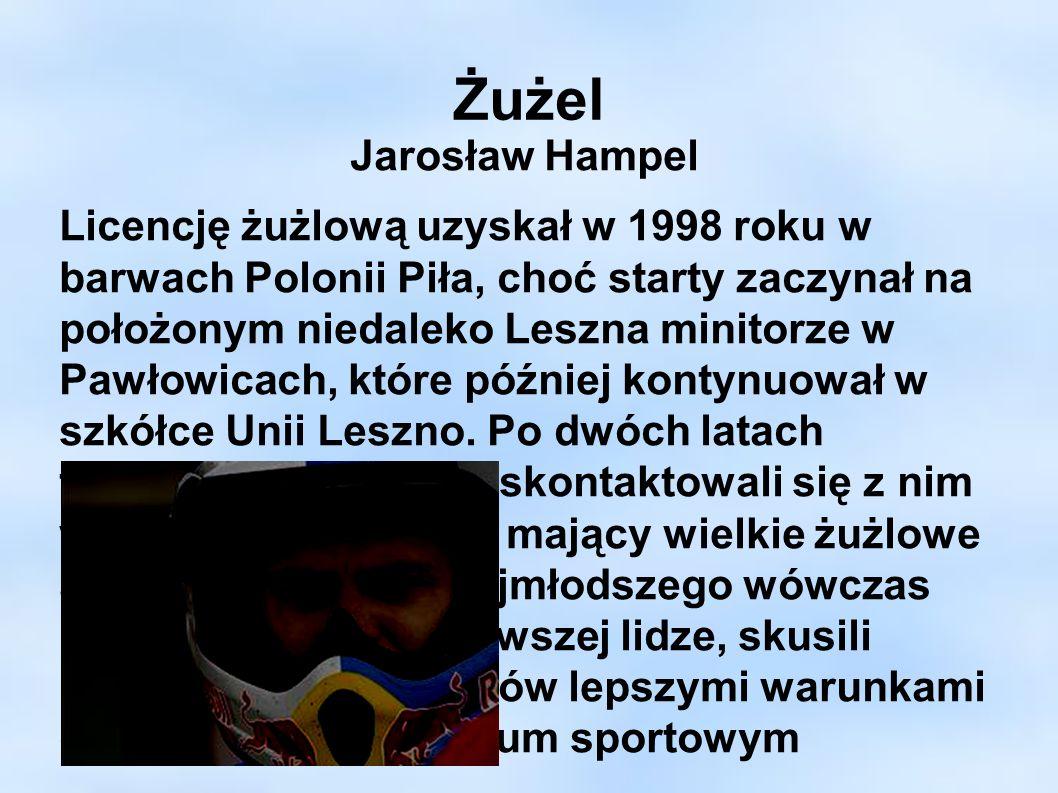 Żużel Jarosław Hampel Licencję żużlową uzyskał w 1998 roku w barwach Polonii Piła, choć starty zaczynał na położonym niedaleko Leszna minitorze w Pawł