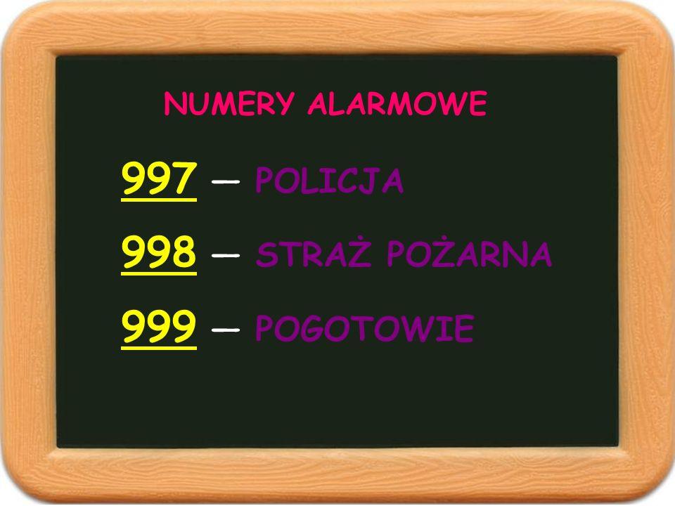 NUMERY ALARMOWE 997 POLICJA 998 STRAŻ POŻARNA 999 POGOTOWIE