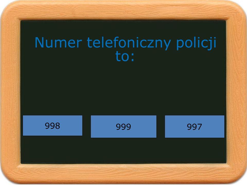 Numer telefoniczny policji to: 998 997999