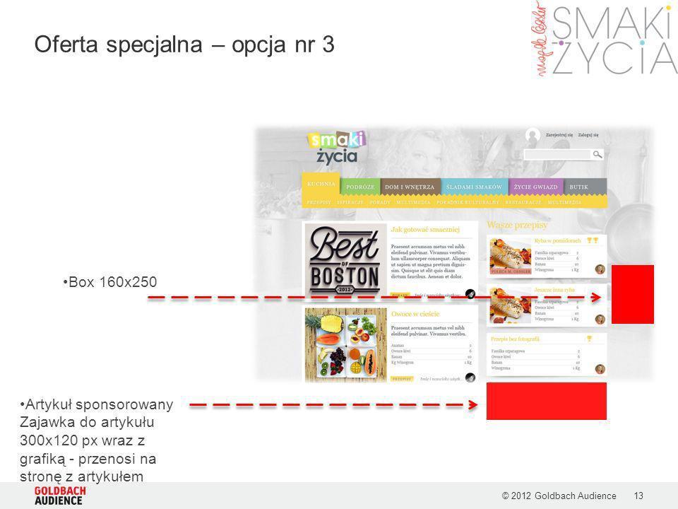 © 2012 Goldbach Audience13 Oferta specjalna – opcja nr 3 Artykuł sponsorowany Zajawka do artykułu 300x120 px wraz z grafiką - przenosi na stronę z art