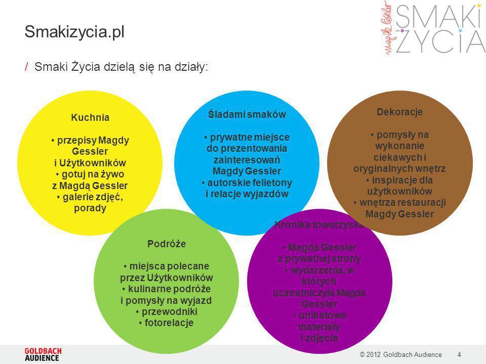 © 2012 Goldbach Audience4 /Smaki Życia dzielą się na działy: Smakizycia.pl Kuchnia przepisy Magdy Gessler i Użytkowników gotuj na żywo z Magdą Gessler