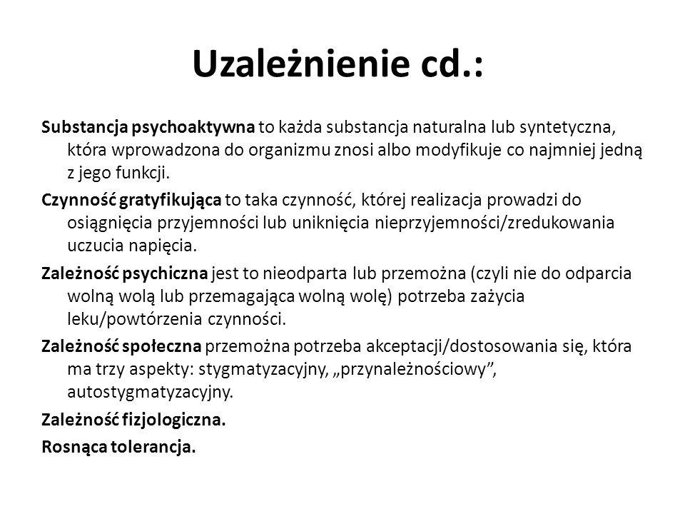 Uzależnienie cd.: Substancja psychoaktywna to każda substancja naturalna lub syntetyczna, która wprowadzona do organizmu znosi albo modyfikuje co najm