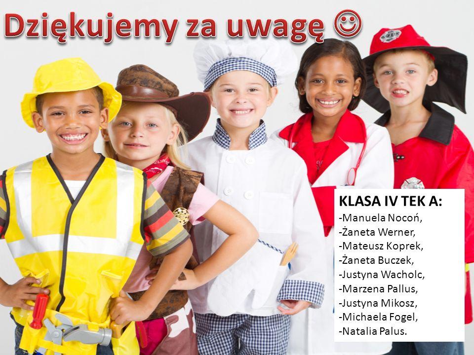 KLASA IV TEK A: -Manuela Nocoń, -Żaneta Werner, -Mateusz Koprek, -Żaneta Buczek, -Justyna Wacholc, -Marzena Pallus, -Justyna Mikosz, -Michaela Fogel,