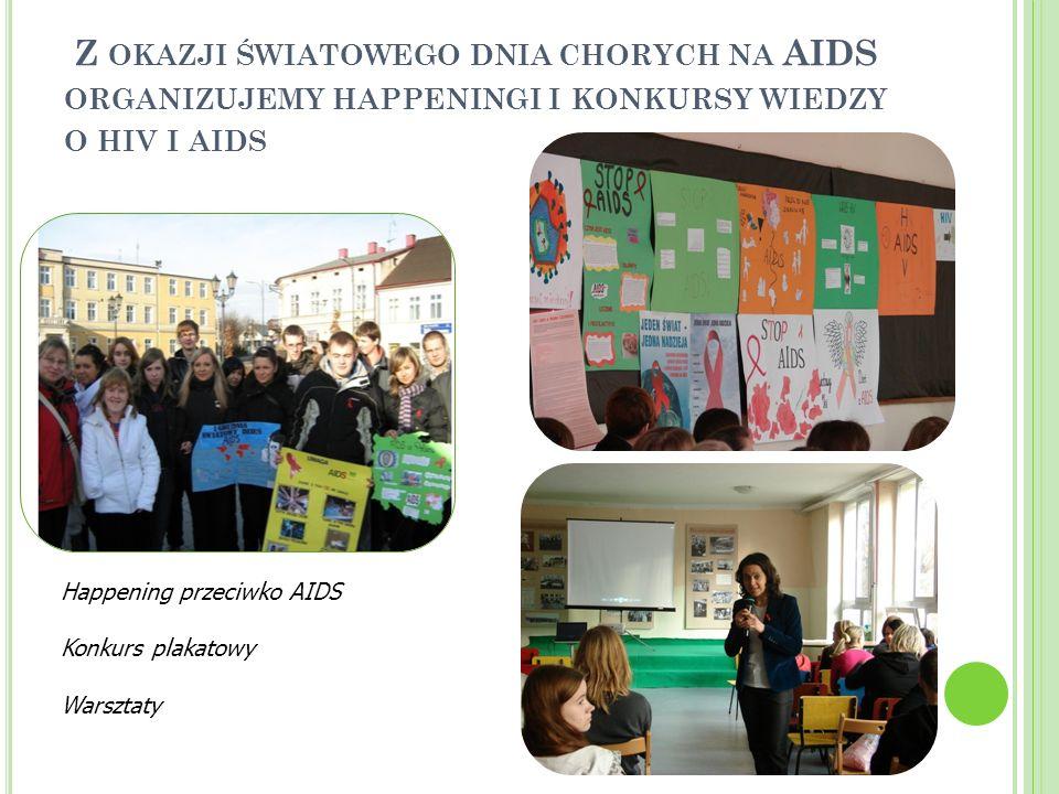 Z OKAZJI ŚWIATOWEGO DNIA CHORYCH NA AIDS ORGANIZUJEMY HAPPENINGI I KONKURSY WIEDZY O HIV I AIDS Happening przeciwko AIDS Konkurs plakatowy Warsztaty
