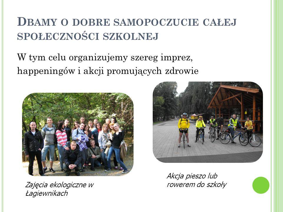 D BAMY O DOBRE SAMOPOCZUCIE CAŁEJ SPOŁECZNOŚCI SZKOLNEJ W tym celu organizujemy szereg imprez, happeningów i akcji promujących zdrowie Akcja pieszo lub rowerem do szkoły Zajęcia ekologiczne w Łagiewnikach
