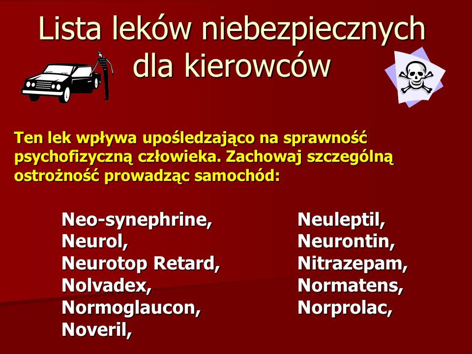 Lista leków niebezpiecznych dla kierowców Ten lek wpływa upośledzająco na sprawność psychofizyczną człowieka. Zachowaj szczególną ostrożność prowadząc