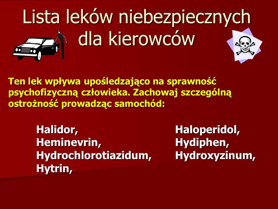 Lista leków niebezpiecznych dla kierowców Ten lek wpływa upośledzająco na sprawność psychofizyczną człowieka.