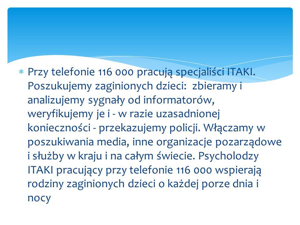 Przy telefonie 116 000 pracują specjaliści ITAKI. Poszukujemy zaginionych dzieci: zbieramy i analizujemy sygnały od informatorów, weryfikujemy je i -
