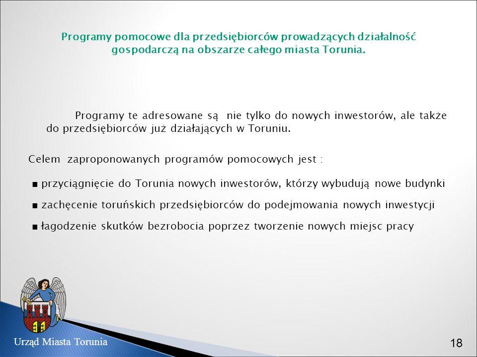 Programy pomocowe dla przedsiębiorców prowadzących działalność gospodarczą na obszarze całego miasta Torunia. Programy te adresowane są nie tylko do n