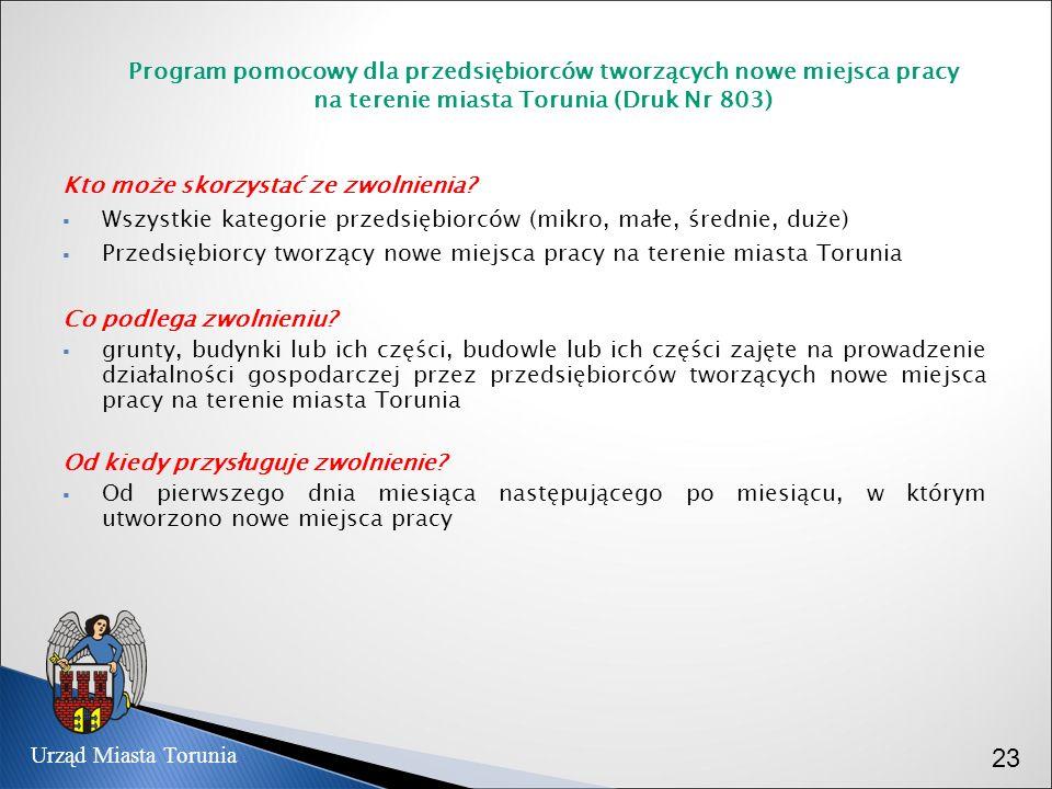 Program pomocowy dla przedsiębiorców tworzących nowe miejsca pracy na terenie miasta Torunia (Druk Nr 803) Kto może skorzystać ze zwolnienia? Wszystki