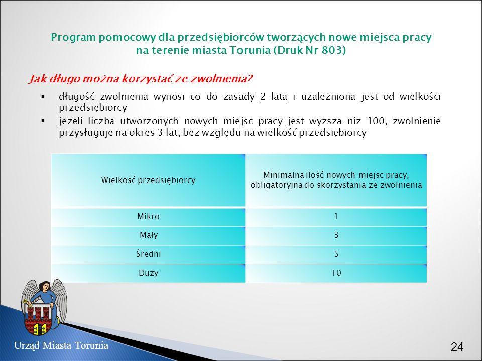 Program pomocowy dla przedsiębiorców tworzących nowe miejsca pracy na terenie miasta Torunia (Druk Nr 803) Jak długo można korzystać ze zwolnienia? dł